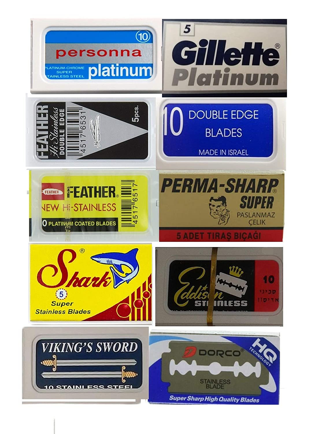 100 Safety Double Edge Razor Blades for Shaving of 10 Top Brands -Feather-Persona-Gillette