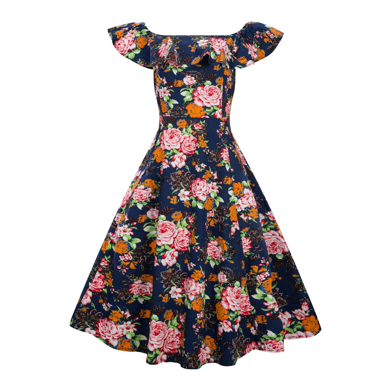 5545a02980f1 Features  Ruffle Off Shoulder Floral Print Dress   Concealed zipper. Start  with this vintage yet elegant 1950s rockabilly Audrey Hepburn dress which  ...