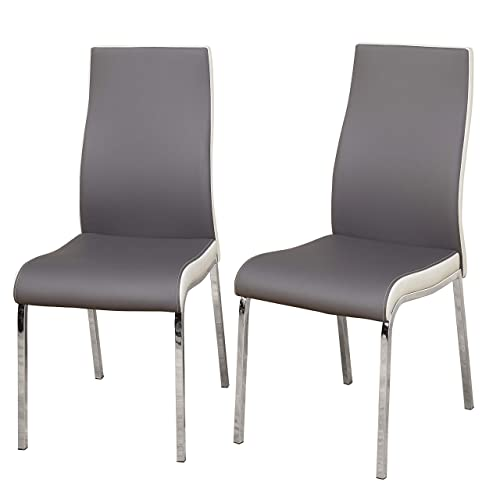 TMS Nora Chrome Plated and Faux Leather Retro Dining, Set of 2 Chairs, Gray White, Gray White