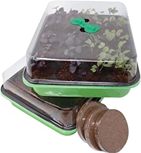Window Garden 20 Cavity Seed Propagation Kits (2) – Complete with Fiber Soil and Ventilated Greenhouse Trays. Germinate Seeds in a Window or Under Lights for The Garden. Reusable Seedling Starter.