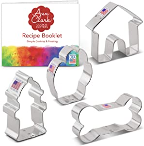 Ann Clark Cookie Cutters 4-Piece Dog Themed Cookie Cutter Set with Recipe Booklet, Dog Bone, Paw Print, Fire Hydrant, and Dog House