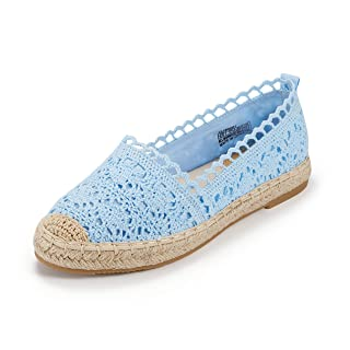 Espadrille Sneakers for Women: Hollow Canvas Casual Flats Classic Slip-On Comfortable Shoes (9 B(M) US (25.1CM), Blue)