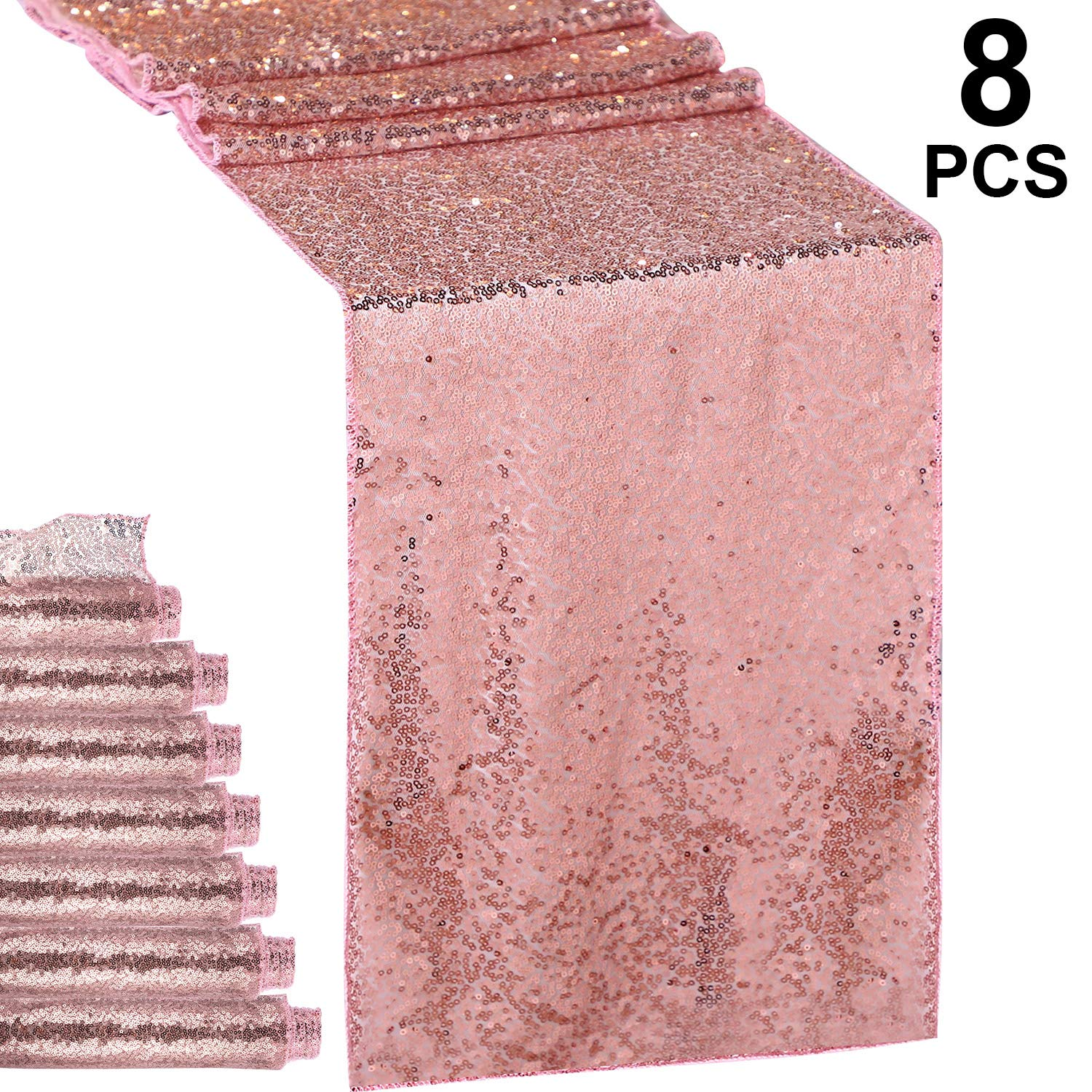 Hestya 8 Pieces Sequin Table Runner Glitter Sparkly 12 by 108 Inch for Wedding Engagement Birthday Summer Theme Party Bridal Baby Shower Dresser Decorations (Rose Gold, 8 Pieces)