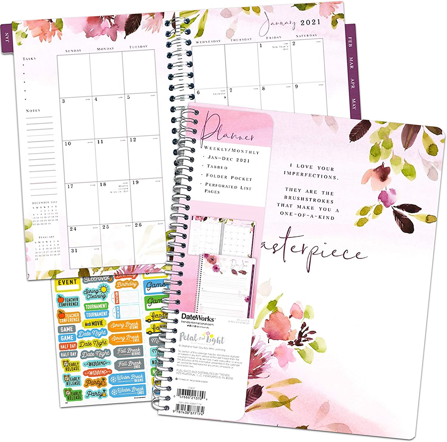 Stephanie Ryan's Beauty & Light Calendar 2021 Bundle - Deluxe 2021 Watercolor Flowers Weekly/Monthly Planner - 8.5 x 11 Calendar with Over 100 Calendar Stickers