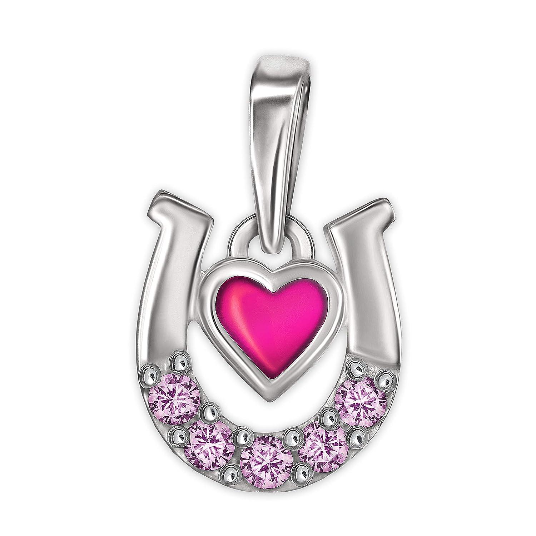 Clever Parure de bijoux en argent 925 avec pendentif en fer /à cheval 9 x 8 mm en forme de c/œur rose laqu/é avec de nombreux zircons roses et fines cha/înes 40 cm