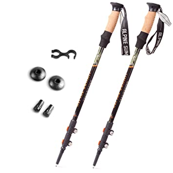 Amazing Alpine Summit Trekking Poles [ Pair ] Collapsible Hiking / Walking Sticks,  Tungsten Tips,