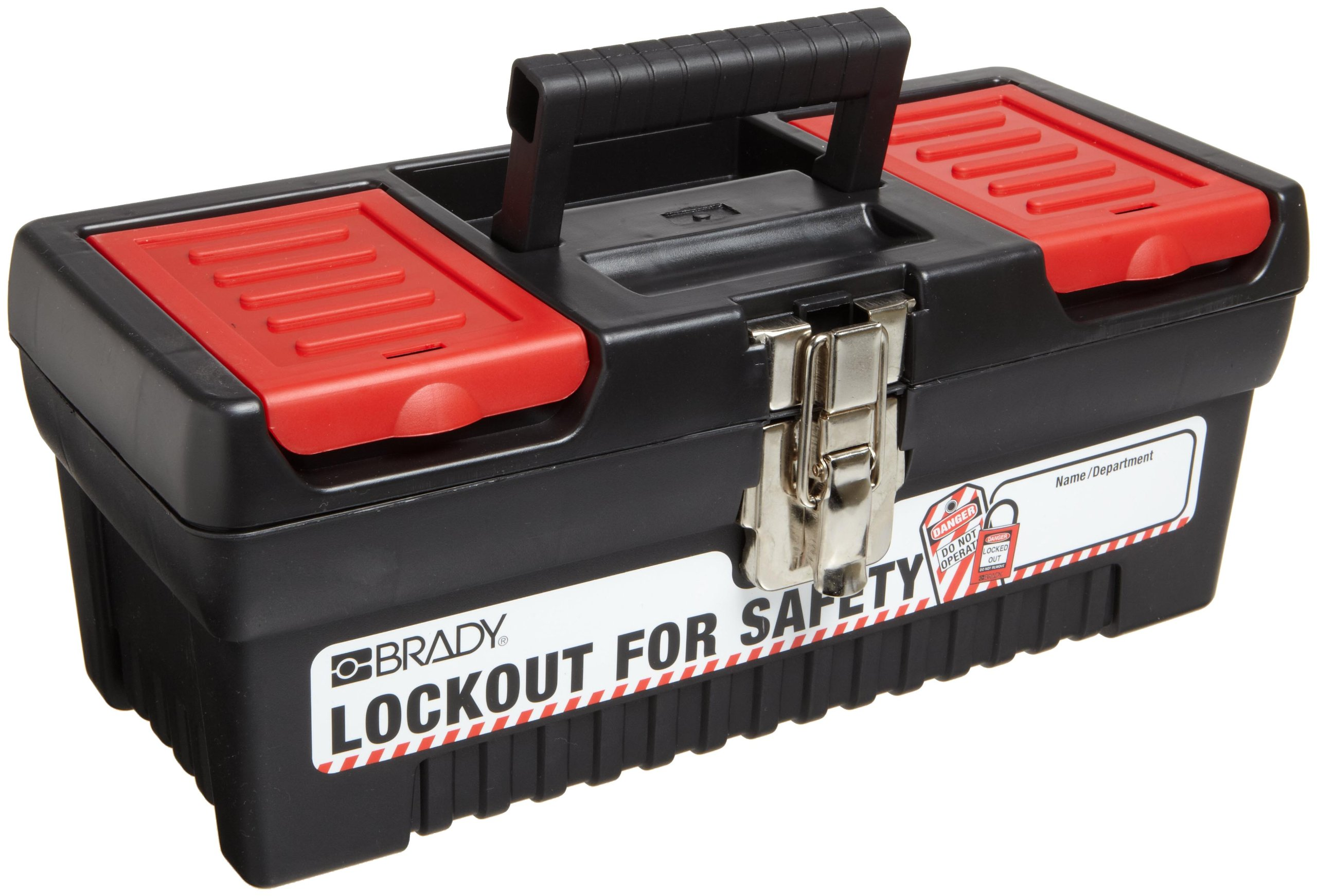 Brady Polypropylene Lockout Toolbox, Legend ''Lockout For Safety'', Small, 7.1'' Height, 14'' Width, 5.5'' Depth