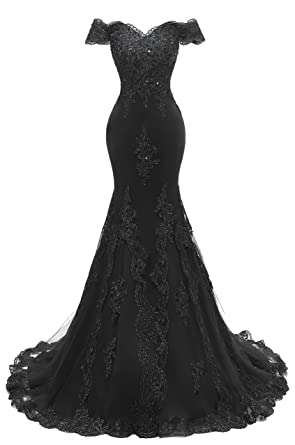 0b787efed80e9 Himoda Women's V Neckline Beaded Evening Gowns Mermaid Lace Prom Dresses  Long H074 2 Black