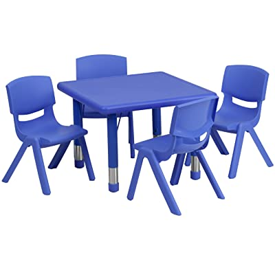 Flash Furniture 24'' Square Blue Plastic Height Adjustable Activity Table Set with 4 Chairs: Kitchen & Dining