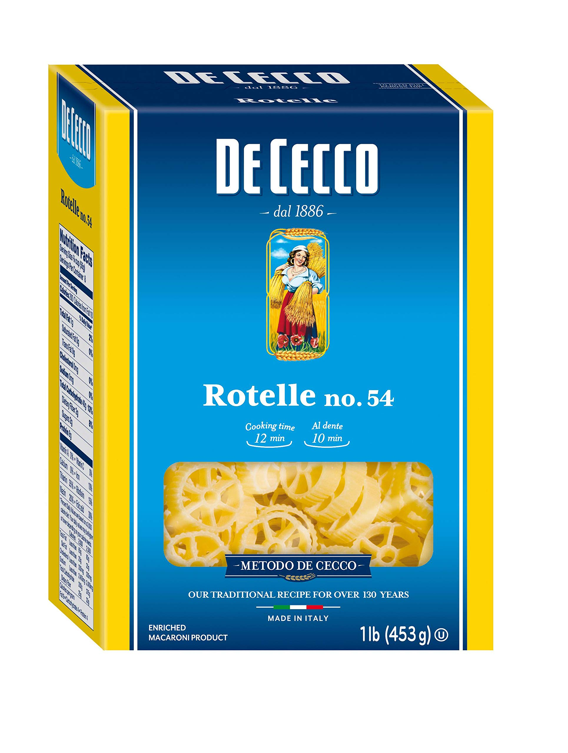 De Cecco Semolina Pasta, Rotelle No.54, 1 Pound (Pack of 12) by De Cecco