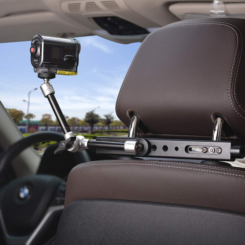 Samsung iPhone con braccio magico per Canon per fotocamera DSLR//action camera//smartphone Kit di espansione 3 in 1 per poggiatesta auto Nikon GoPro Fantaseal