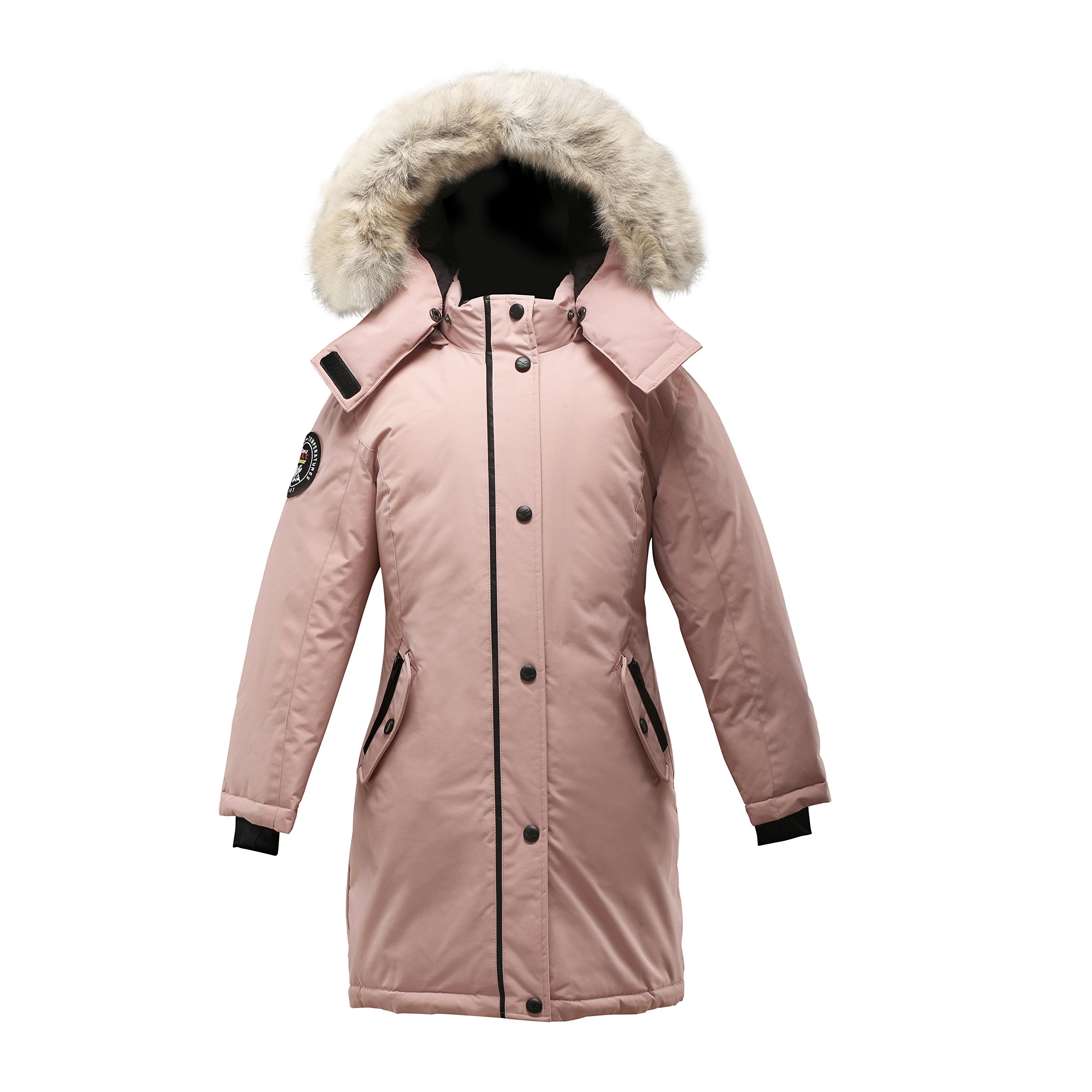 Triple F.A.T. Goose Alistair Girls Down Jacket Parka With Real Coyote Fur (14, Pink)