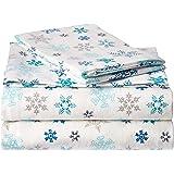 Eddie Bauer Indigo Flannel Sheet Set, Twin, Tossed Snowflake