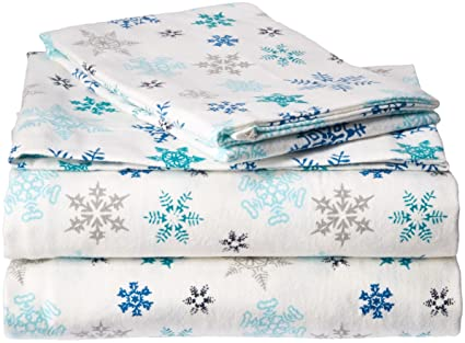 Eddie Bauer Flannel Sheet Set, Twin, Tossed Snowflake best twin-sized flannel sheets