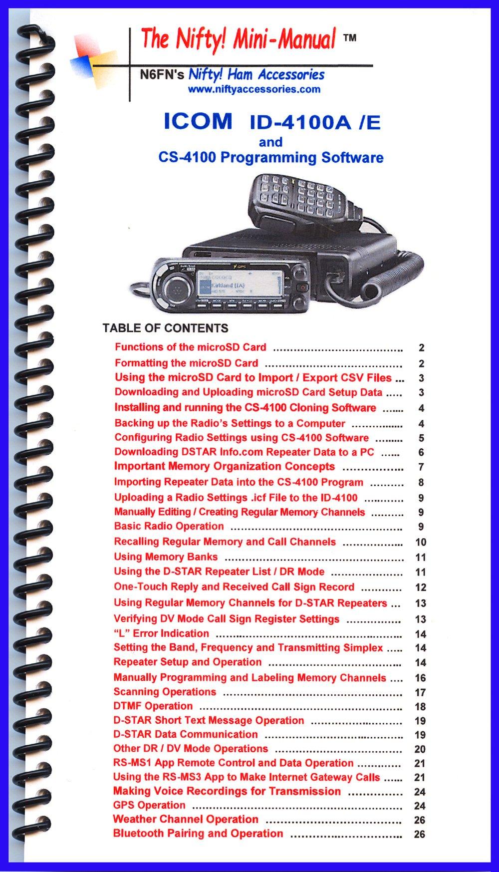 Icom ID-4100A /E Mini-Manual by Nifty Accessories pdf