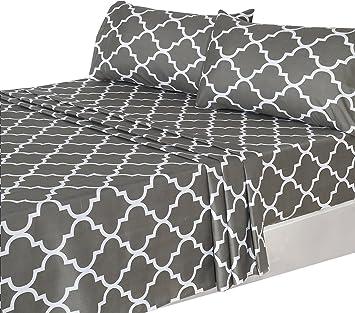 Beau 4 Piece Bed Sheets Set (Full, Grey) 1 Flat Sheet 1 Fitted Sheet