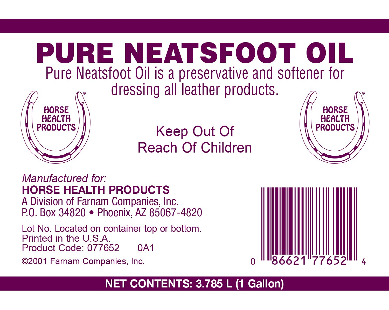 Horse Health Pure Neatsfoot Oil, 1 gallon by Farnam (Image #2)