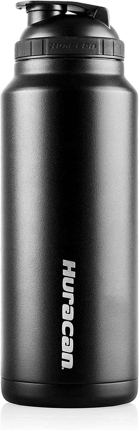 Huracan Shaker Bottle: Protein Blender Bottle, Stainless Steel Water Bottle, Double Wall Vacuum Insulated Smoothie Cup, Wide Mouth, Removable Mixer, Silicone Grip, BPA Free - Black 36 oz