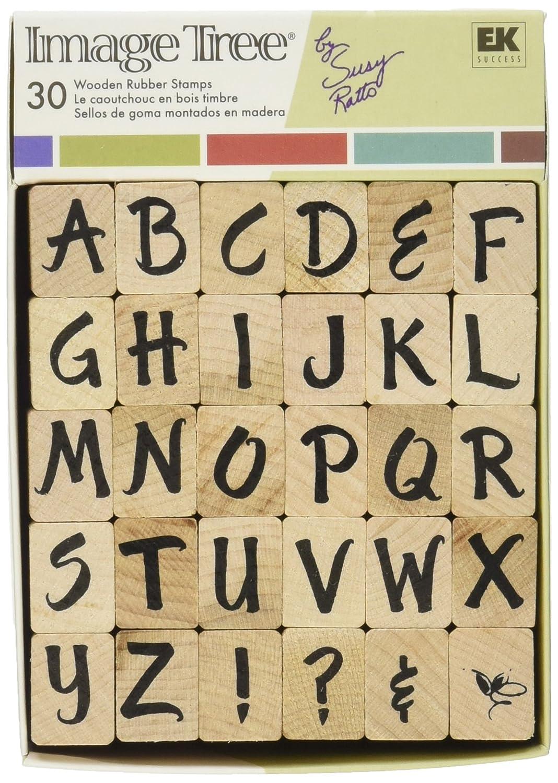 EK Success Image Tree Wood Handle Rubber Stamp Set Susy Ratto Brush Letter Alphabet//Upper