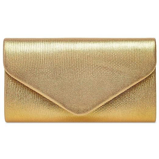 Caspar TA521 Bolso de Mano/Clutch para Mujer Estampado de Piel de Serpiente, Color:dorado, Tamaño:Talla Única: Amazon.es: Ropa y accesorios