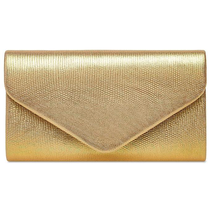 737489896 Caspar TA521 Bolso de Mano/Clutch para Mujer Estampado de Piel de Serpiente,  Color:dorado, Tamaño:Talla Única: Amazon.es: Ropa y accesorios