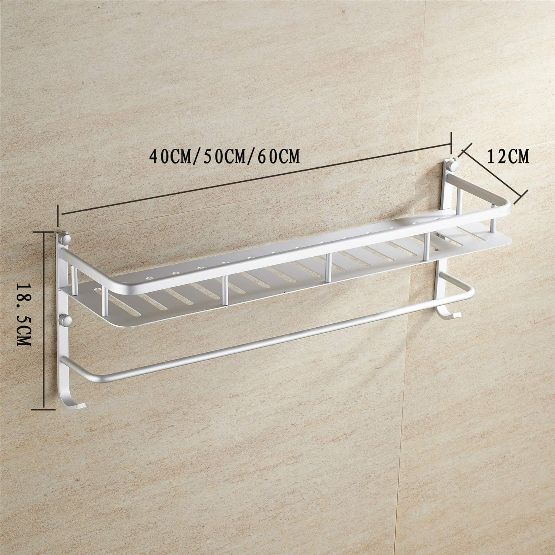 Storage Rack Multifunctional Solid Space Aluminum Kitchen Rack Bathroom Rectangular Single Layer Storage Rack with Towel bar Double Hook (Size : Putong)