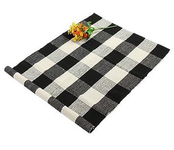 Homcomoda Küche Teppich Läufer Küchenmatte Waschbar Rutschfest  Küchenteppich Teppich Für Küche 60x90cm (Schwarz Weiß