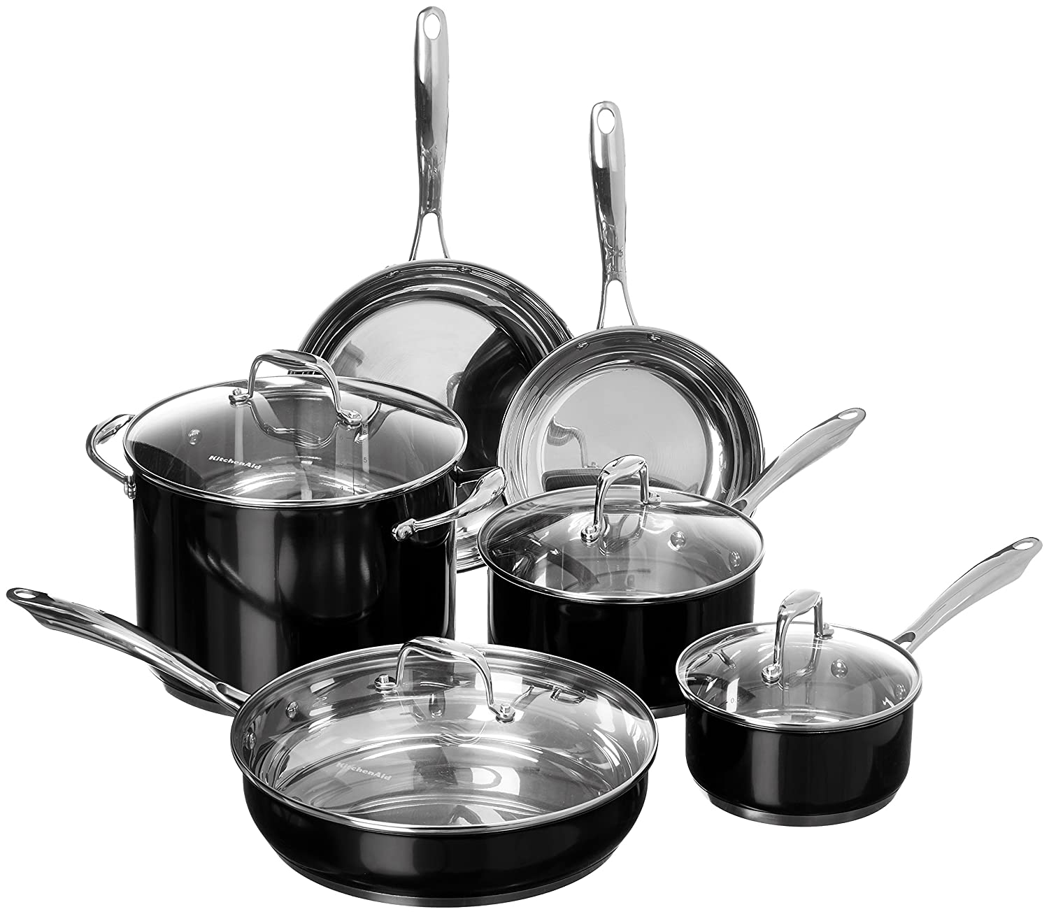 Amazon.com: KitchenAid KCSS10OB Stainless Steel 10-Piece Cookware ...