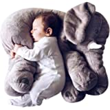 Sana Animal Elephant Soft Toy Cushion Pillow Cover for Baby Safety (Size_21x14x10 cm) (Grey)