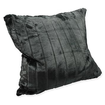 Weiche Cashmere Touch Kissenhülle Kissenbezug Ca 60x60 Cm Dekokissen Flauschig In Streifen Nerz Fell Optik Grau Anthrazit
