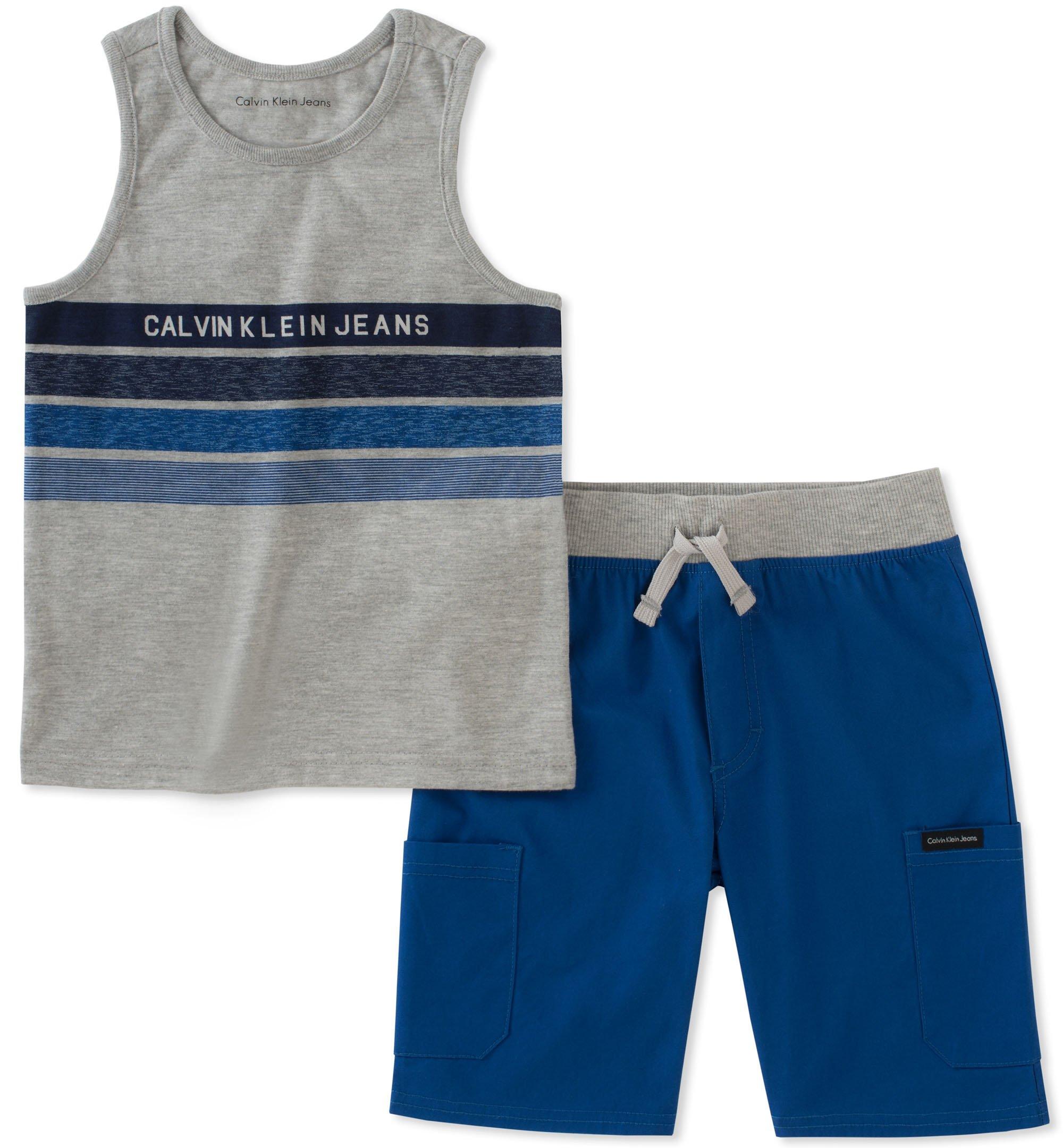Calvin Klein Boys' Little 2 Pieces Tank Top Shorts Set, Gray/Navy, 4