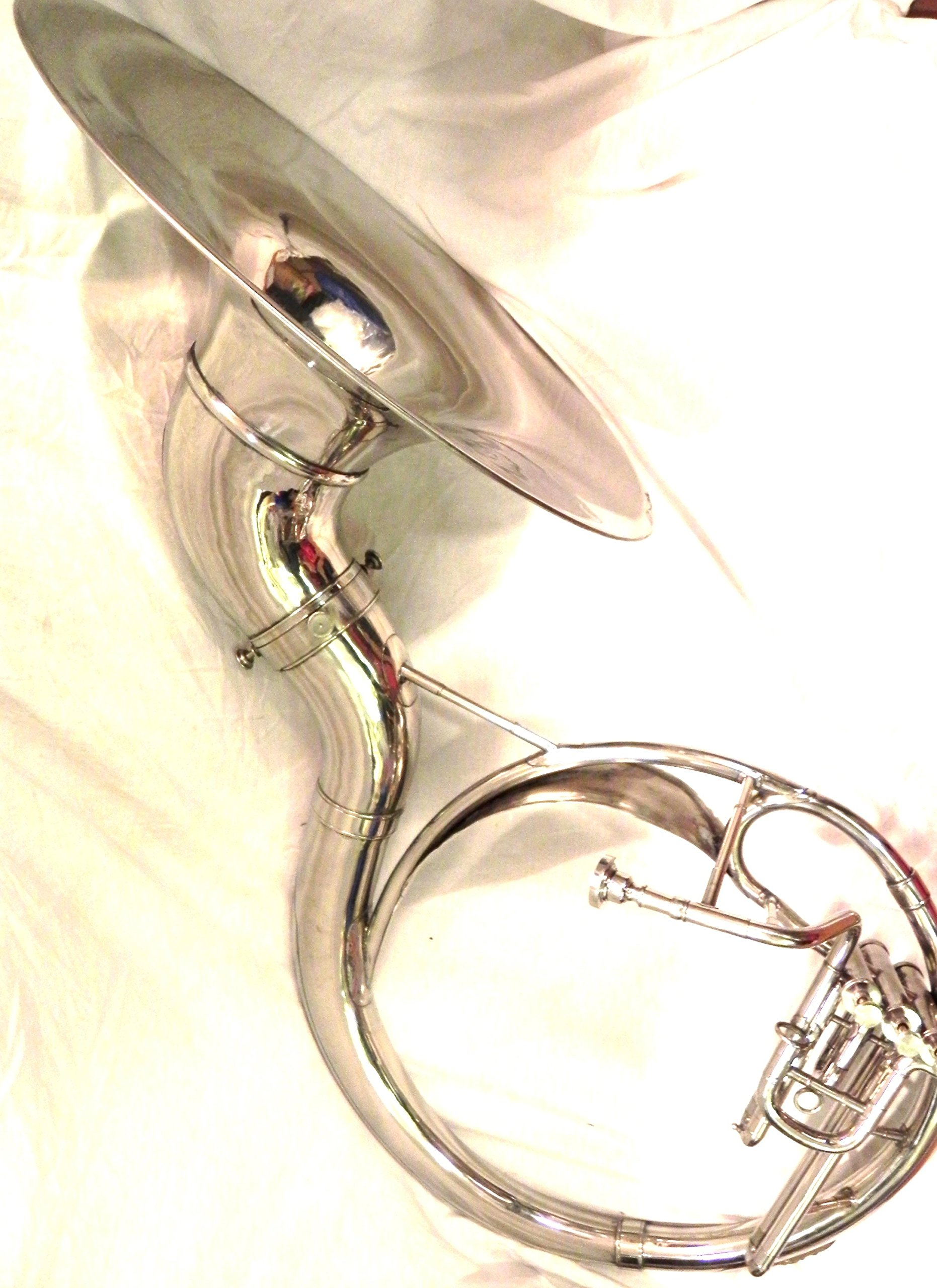 INDIAN HANDMADE CHROME FINISH 22'' SOUSAPHONE BRASS MADE TUBA WITH MOUTH PIECE / CARRY BAG by IM