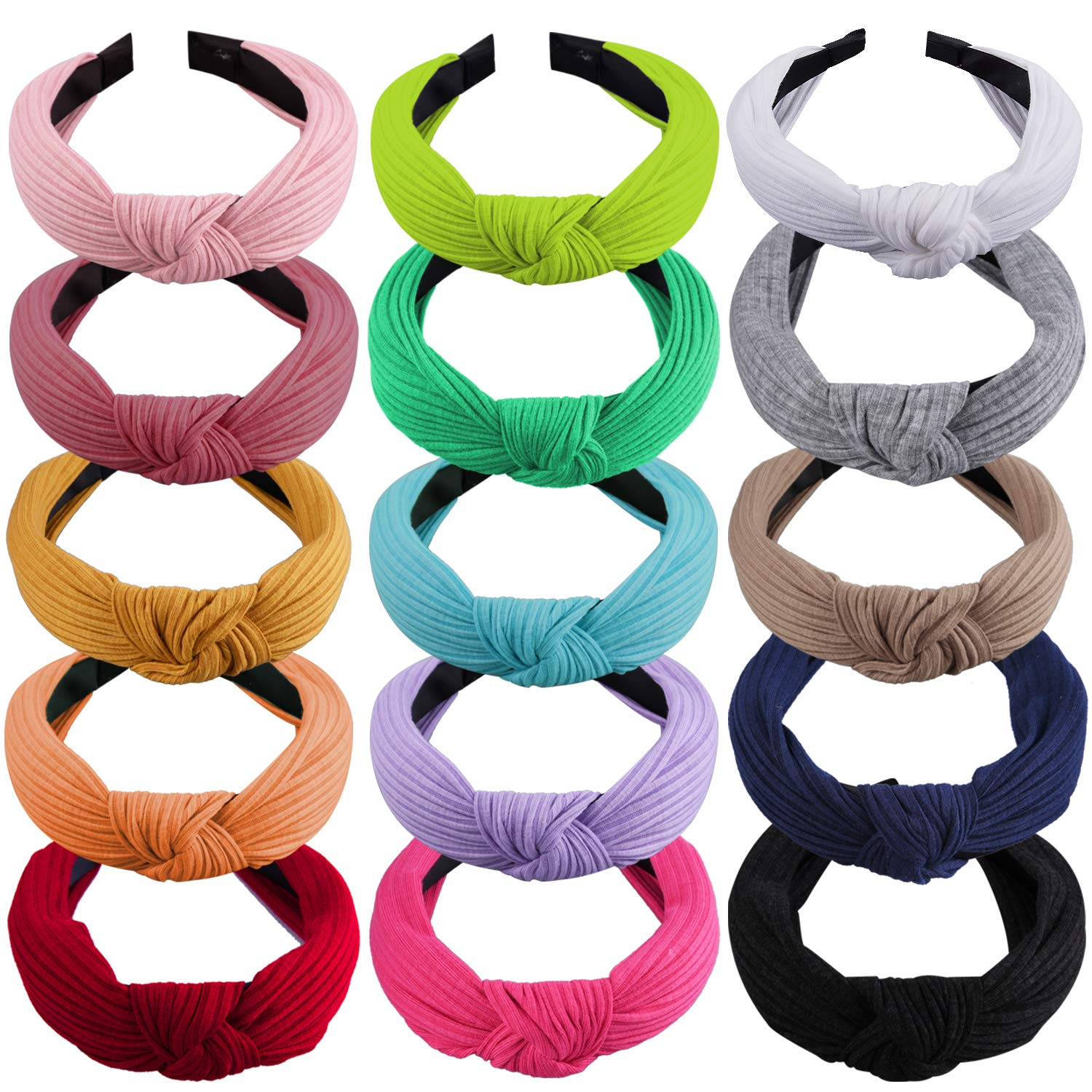 SIQUK 15 Pieces Top Knot Headband Turban Headbands with Cross Knot Wide Cloth Headband for Womem and Girls by SIQUK