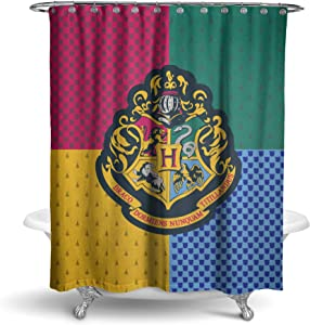 Robe Factory Harry Potter Hogwarts Shower Curtain Houses Bathroom Decor with Hook Rings