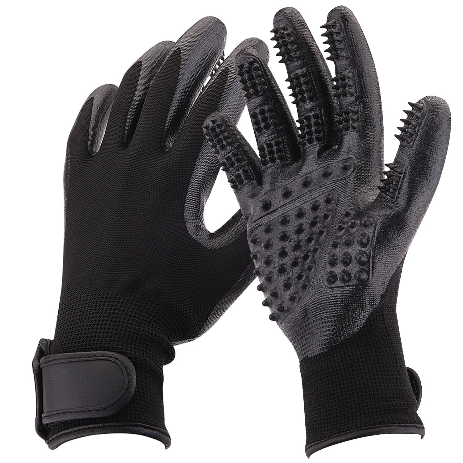 Pet Grooming Gloves, Shedding Brush, Combing and Massage, For Dogs, Horses, Cats, Rabbits, Cows, Other Pets and Livestock, Long & Short Fur, One Pair