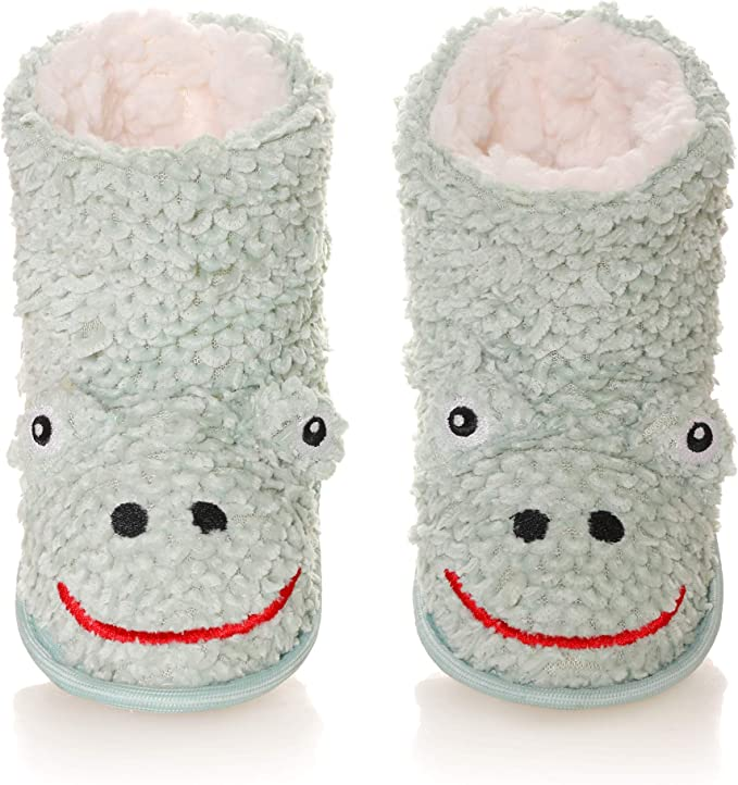 Kids Boy Girl Animal House Slipper Soft Warm Winter Plush Non-Skid Indoor Slipper Shoes Boot Socks (Green B, 6-7 Years) best kids' slippers
