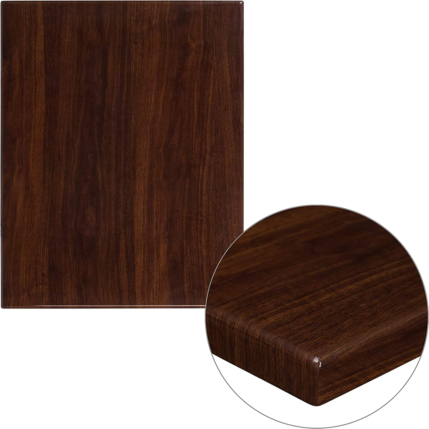 "Flash Furniture 24"" x 30"" Rectangular High-Gloss Walnut Resin Table Top with 2"" Thick Edge"
