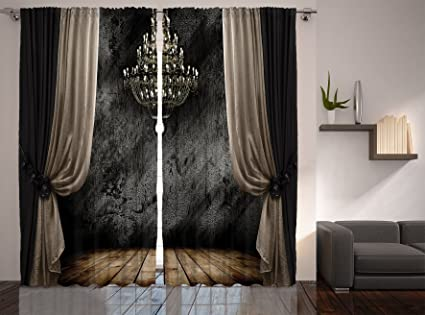 Grey Curtains For Living Room By Ambesonne Retro Decor Vintage Ballroom Crystal Chandelier Wooden Planks