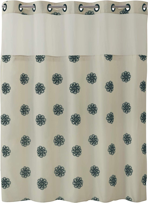 Surefit Home Décor Hookless Sunburst Floral Shower Curtain With Peva Snap In Liner Easy Install Flex On Rings Split Grommet Machine Washable Cream Black Color Home Kitchen Amazon Com