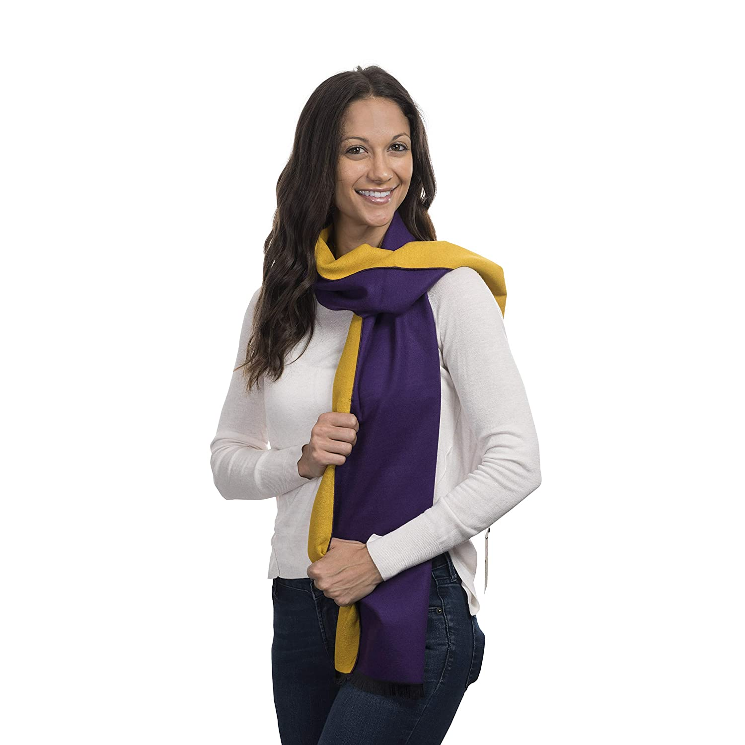 Purple & Yellow Cashmere&Class TwoTone Cashmere Scarf Reversible Trendy Warm Winter Wear, Women, Men