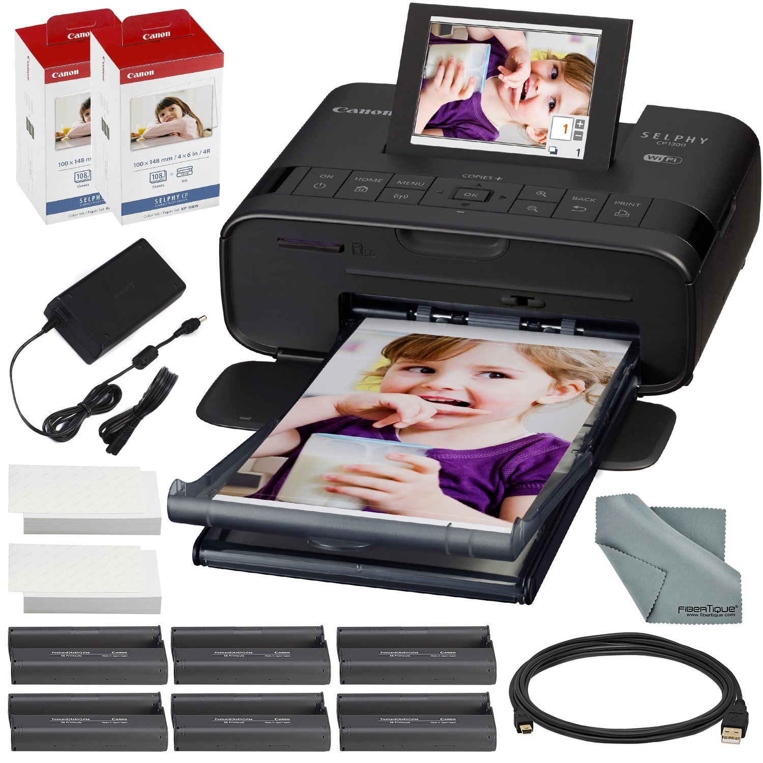 Canon SELPHY CP1300 Compact Photo Printer (Black) with WiFi and Accessory Bundle w/2X Canon Color Ink and Paper Set