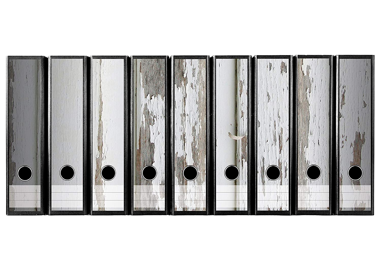 Juego 9 pieza ancho carpeta de etiquetas autoadhesivas archivadores adhesivos Antigua Madera Suelo con abblättender Color Blanco Efecto madera madera ...