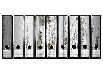 Juego 9 pieza ancho carpeta de etiquetas autoadhesivas archivadores adhesivos Antigua Madera Suelo con abblättender Color