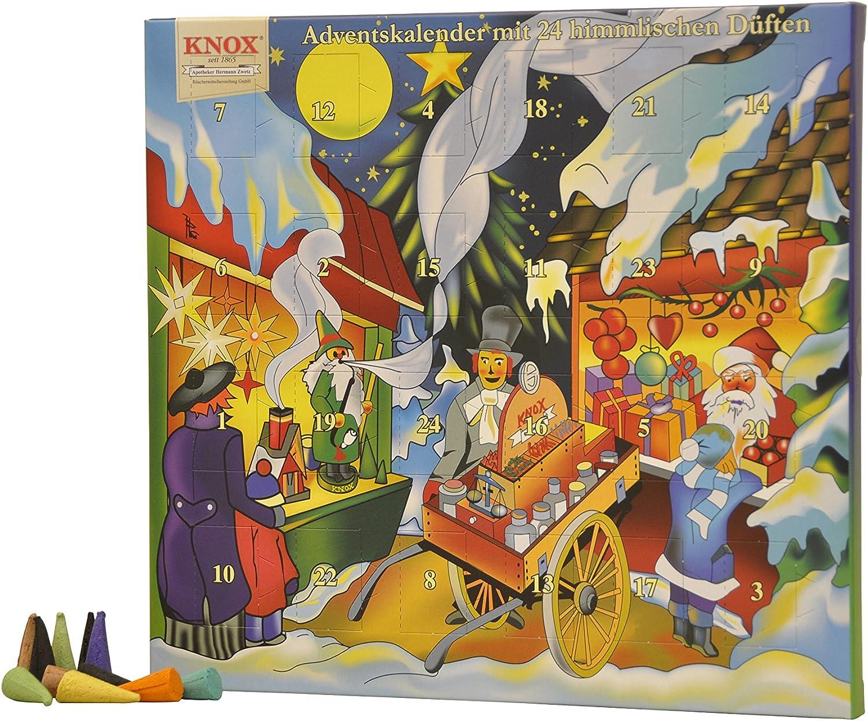 Multicolor 1.5x26x24 cm Velas de Incienso KNOX 090000-Calendario de Adviento con 24 Aromas celestiales