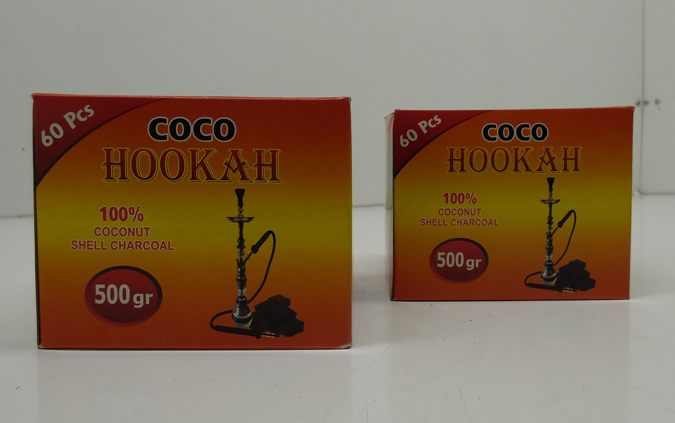 Coco Hookah 100% Coconut Shell Charcoal (60 Pieces (500Gr) 2 Pack)