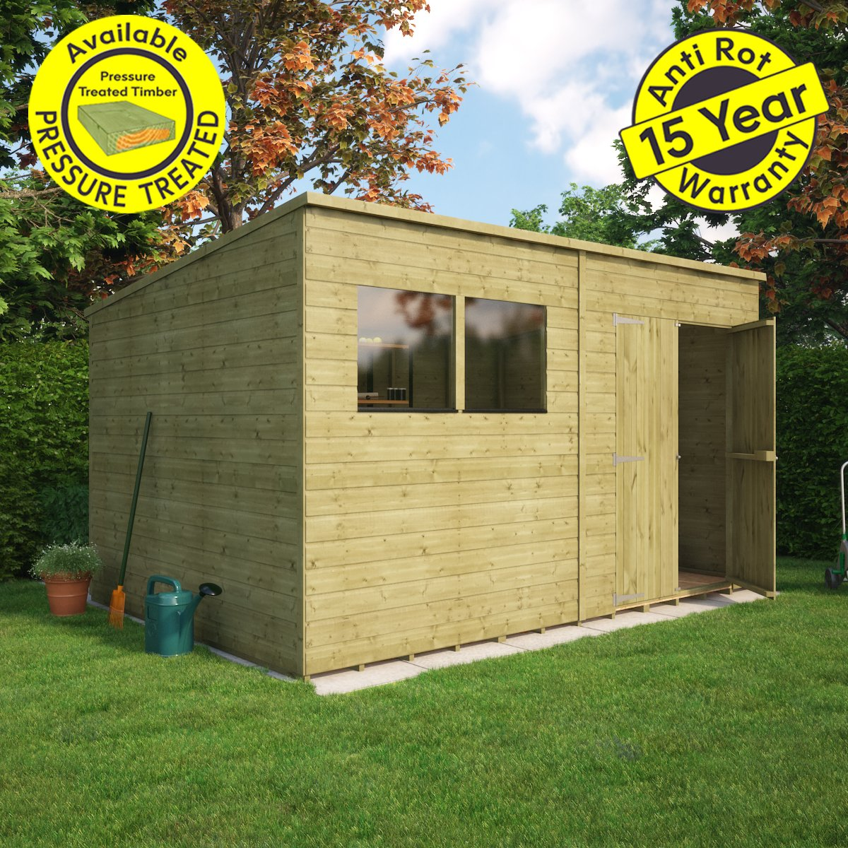 Project Timber - Cobertizo inclinado de madera con ventana para jardín: Amazon.es: Jardín