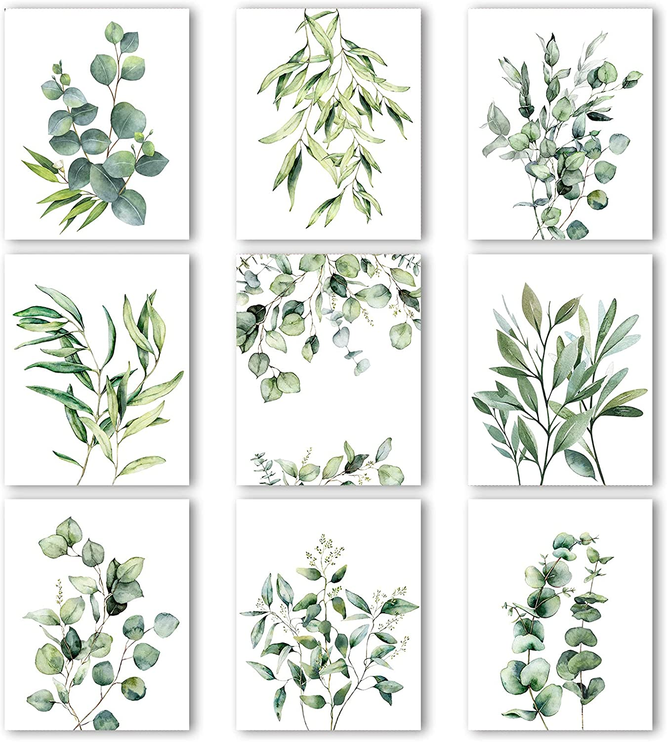 9 Pieces Eucalyptus Prints Botanical Plant Wall Art Prints Green Leaves Watercolor Wall Posters Boho Wall Decor Minimalist Wall Art for Farmhouse Living Room Bedroom Kitchen (8 x 10 Inch, Unframed)