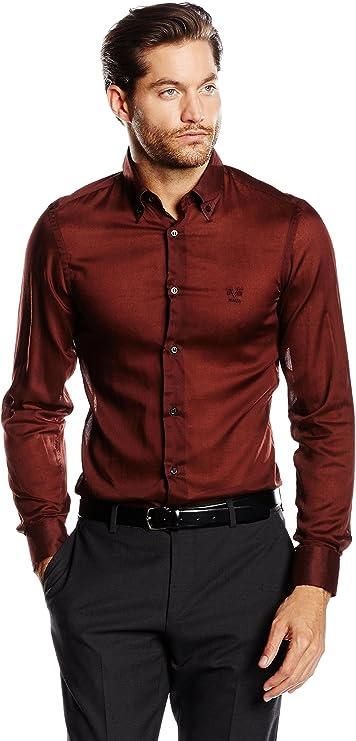 19V69 Camisa Hombre Granate 42 cm (16.5