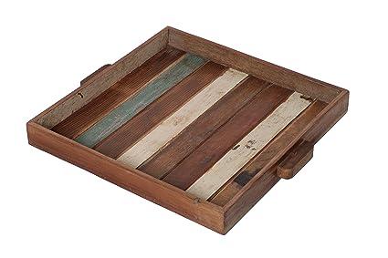 Bandeja de madera reciclada – Bandeja decorativa – 100% madera reciclada – Bandeja de madera