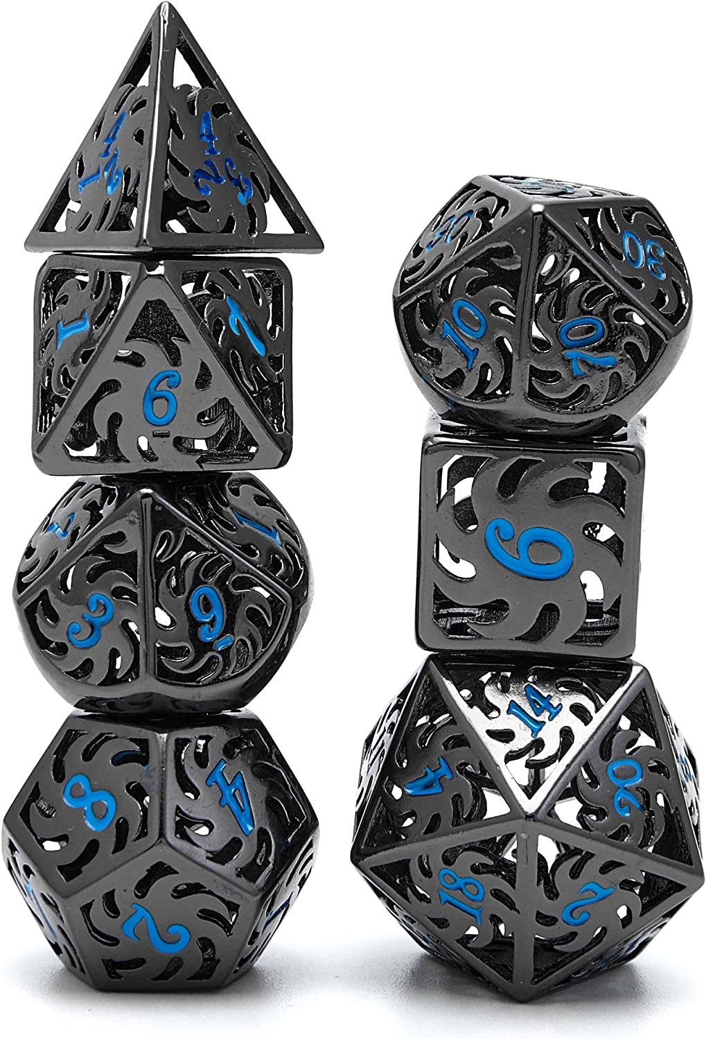 Metal Dice Set D D 7pcs Dungeon And Dragon Dice Punk Style Rpg Games Math Teaching Hollow Flame Wheel Shape Dnd Dice Toys Games Amazon Com